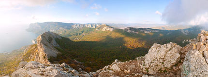 Panoramic view of the mountains and plateaus Royalty Free Stock Photos