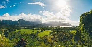 Beautiful nature on the Kauai island, Hawaii, USA. Panoramic view on mountains, rivers, fields and waterfalls stock photography