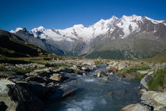 Panoramic View Of Mountains in Saas Fee. The Saas Fee Mountain ridge, the so-calledMischabel-kette consists of Allalinhorn, Alphubel, Täschhorn, Dom royalty free stock images