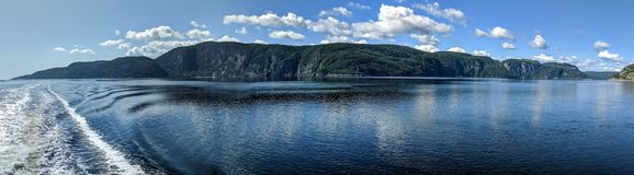 Panoramic view of the mountains of Saguenay Fjord Quebec royalty free stock photography
