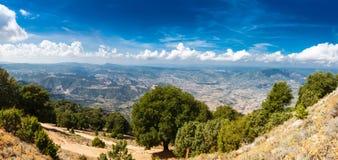 Panoramic view from the mountains on Sardinia Stock Photos