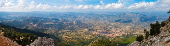 Panoramic view from the mountains on Sardinia Stock Photo
