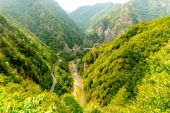 Panoramic view of the mountains seen from the top in Romania stock images