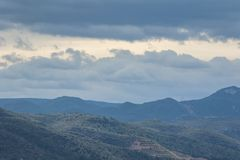 Panoramic view of mountains in Spain. Cloudy day. stock photos