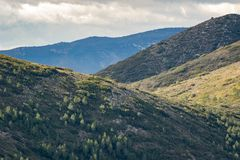 Panoramic view of mountains in Spain. Cloudy day. royalty free stock photo