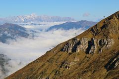 . Panoramic view of the mountains Steinernes Meer, Austria. Royalty Free Stock Photography