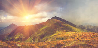 Panoramic view of mountains, summer landscape with foggy hills. Stock Photography