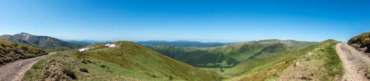 Panoramic view of mountains - Svydovets range - West Ukraine Stock Photo