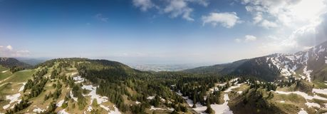 Panoramic view of mountains in Switzerland royalty free stock photo