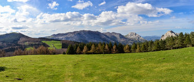 Panoramic view of mountains in Urkiola Natural Park royalty free stock image