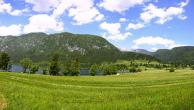 Panoramic view of mountains and valleys near Bohinj Lake, Sloven Stock Photography