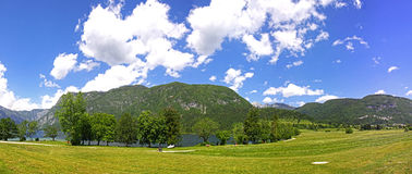 Panoramic view of mountains and valleys near Bohinj Lake, Sloven Royalty Free Stock Images