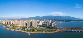 Beautiful jiujiang cityscape and lushan mountain Stock Images