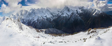 Panoramic view on mountains. In winter Stock Photography