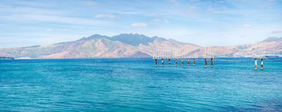 Panoramic view of the mountains of Zambales viewed from Subic Bay royalty free stock image