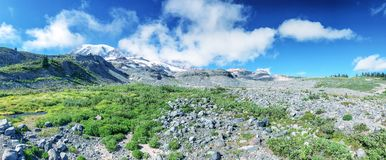 Panoramic view of Mt Rainier landscape on a beautiful summer day Royalty Free Stock Photo
