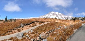 Panoramic view of Mt Rainier trails on a beautiful autumn day Stock Photos