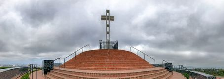 Panoramic view of Mt Soledad National Veterans Memorial, San Die stock photo