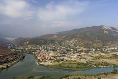 Panoramic view of Mtskheta city and Kura river from Jvari monastery. Georgia Royalty Free Stock Photography