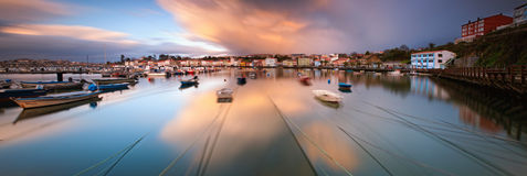 Panoramic view of Mugardos in Galicia, Spain. Stock Image