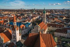Panoramic view of Munich city in Germany on winter day stock images