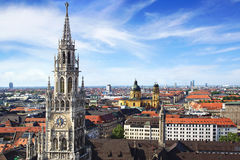 Panoramic view at the Munich. Royalty Free Stock Images