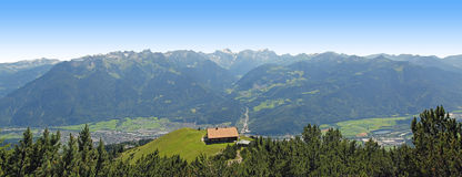 Panoramic view from muttersberg to austrian alps and valley vora Royalty Free Stock Photos