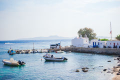 Panoramic view of the Mykonos town harbor from the above hills in Mykonos, Cyclades, Greece Royalty Free Stock Photos
