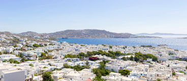 Panoramic view of Mykonos town Royalty Free Stock Photo