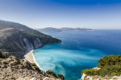 Panoramic of Myrtos beach and coves and bays that surround it stock photos
