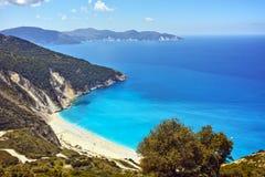 Panoramic view of Myrtos Beach, Kefalonia, Greece Stock Image