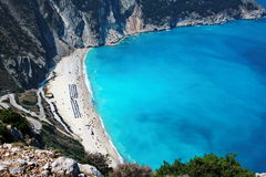 Panoramic view of myrtos beach at kefalonia island Royalty Free Stock Photo