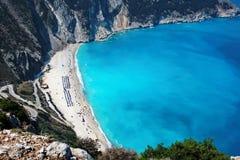 Panoramic view of myrtos beach at kefalonia island Royalty Free Stock Photo