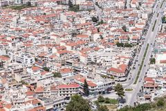 Panoramic view of Nafplio town seen from Palamidi Castle, Greece Royalty Free Stock Photo