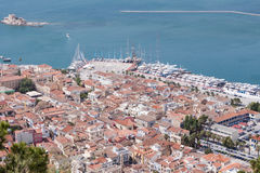 Panoramic view of Nafplio town seen from Palamidi Castle, Greece Royalty Free Stock Image
