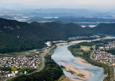 Panoramic view of Nagara river flowing through Gifu city from the top of Gifu castle. On Mount Kinka stock image