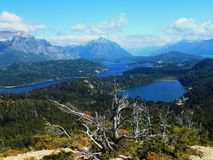 Panoramic view of the Nahuel Huapi lake in Argentina royalty free stock images