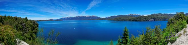 Panoramic view of Nahuel Huapi Lake, near Bariloche, Argentina Royalty Free Stock Photos