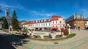 Panoramic view of Namestie svateho Egidia, Poprad old town, Slov. POPRAD, SLOVAKIA - AUGUST 28, 2015: Panoramic view of Namestie svateho Egidia, Poprad old town Royalty Free Stock Images