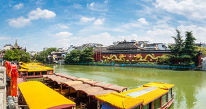 A panoramic view of nanjing confucius temple Royalty Free Stock Photography