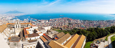 Panoramic view of Naples city, Italy Stock Images