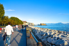 Panoramic view of Naples, with Dell'Ovo Castle seafront Francesco Caracciolo. Stock Photography