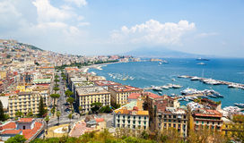 Panoramic view of Naples from Posillipo Stock Photos
