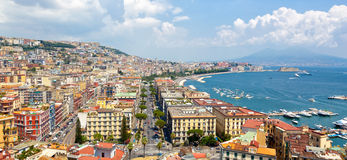 Panoramic view of Naples from Posillipo Stock Images
