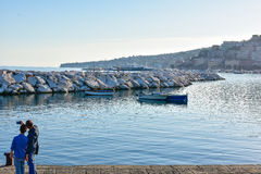 Panoramic view of Naples, seafront Francesco Caracciolo. Royalty Free Stock Photography