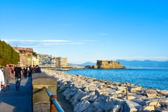 Panoramic view of Naples, seafront Francesco Caracciolo. Royalty Free Stock Images