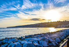 Panoramic view of Naples at sunset, seafront Francesco Caracciolo. Stock Images