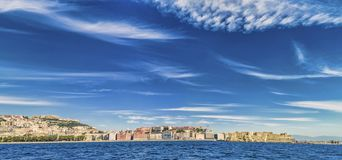 Panoramic view of Naples waterfront Stock Images