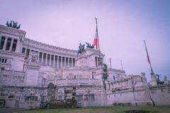 Panoramic view of the National Monument to Victor Emmanuel II. Or Il Vittoriano, monument built in honour of Victor Emmanuel, the first king of a unified Italy Stock Image