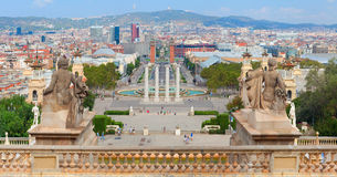 Panoramic view from National Museum in Barcelona Stock Photos